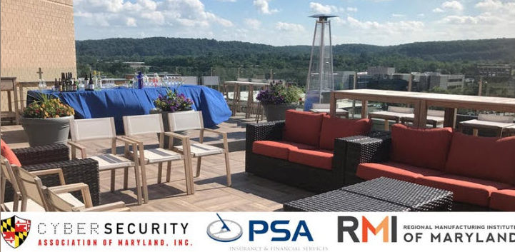 PSA Insurance rooftop with logos for CAMI, RMI, and PSA Insurance Cybersecurity Manufacturers